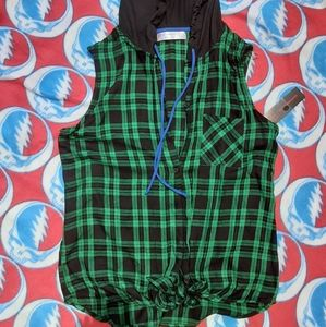 Green plaid hooded tie button up